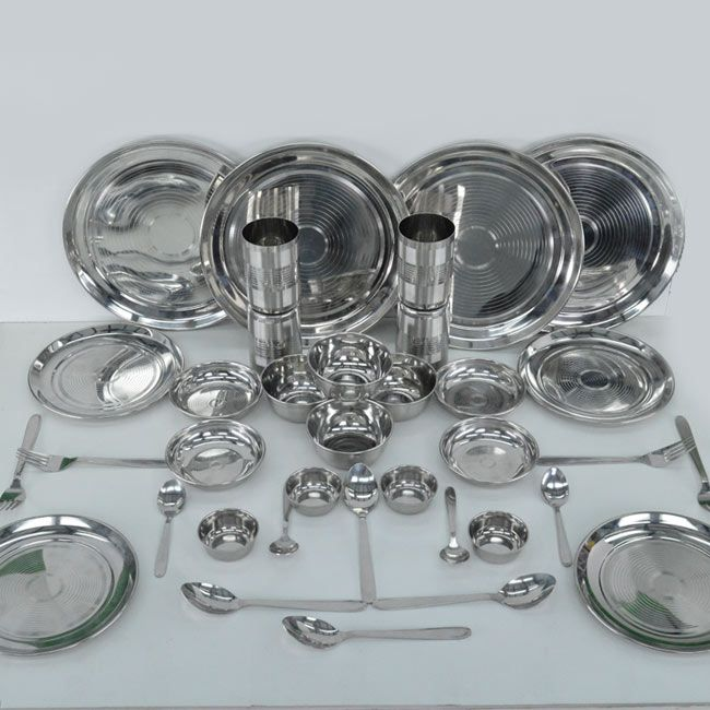 36 pcs Stainless Steel Dinner Set Combo of 4 Full steel plates ,4 Quarter small plates, 4 Bowls,4 Snacks plates, 4 Small Chutney/Sauce bowl, 4 Dinner spoon,4 Dessert spoon,4 Glasses,4 Fork spoon From Teleshop - 24 * 7 Home Shopping Channel In India . Order Now  @  09312100300