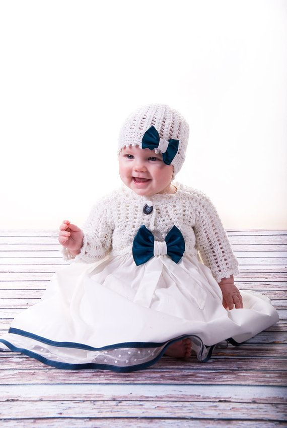 newborn baby dress with knitted hat and cardigan by MonikaVenika