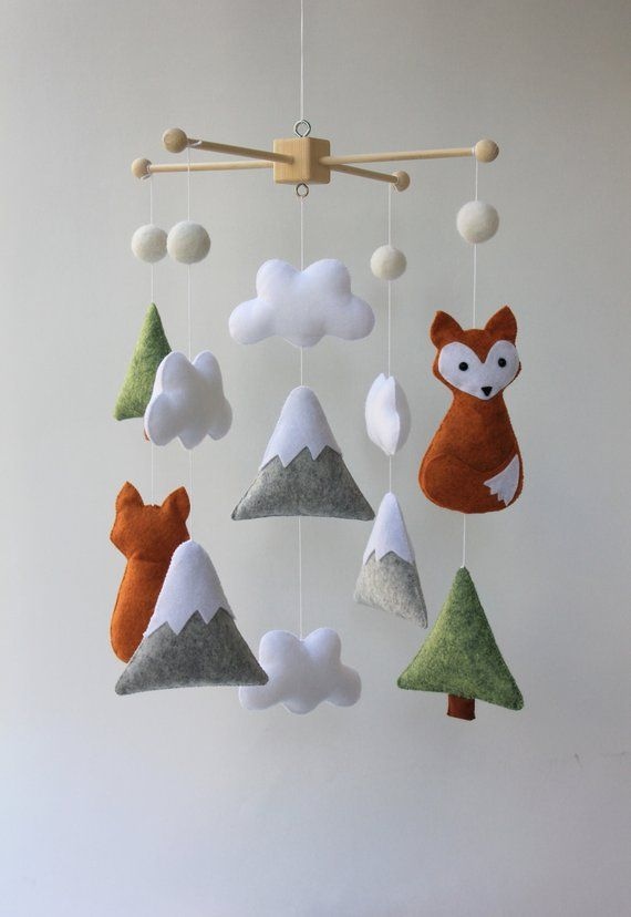 Forest nursery forest mobile mountain mobile orange fox mobile fox mobile mobile mobile baby nursery mobile cot mobile mobile