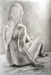 Seated Female Nude, pencil drawing, paper by Ing. Peter Pavluvčík.