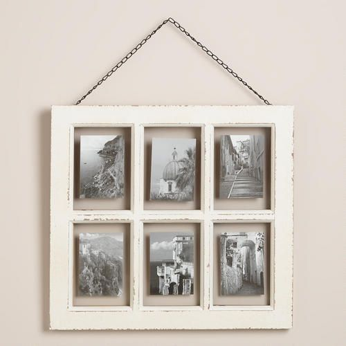 Like this idea for my bedroom.  One of my favorite discoveries at WorldMarket.com: White Vintage 6-Photo Frame