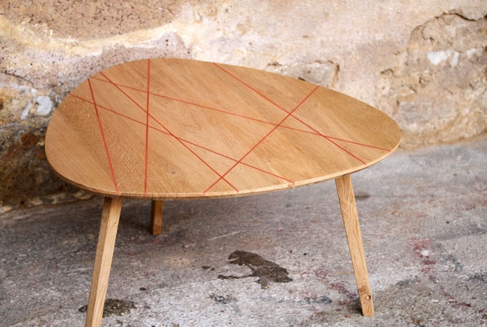 Table basse tripode ch ne massif design pinterest - Table basse tripode vintage ...