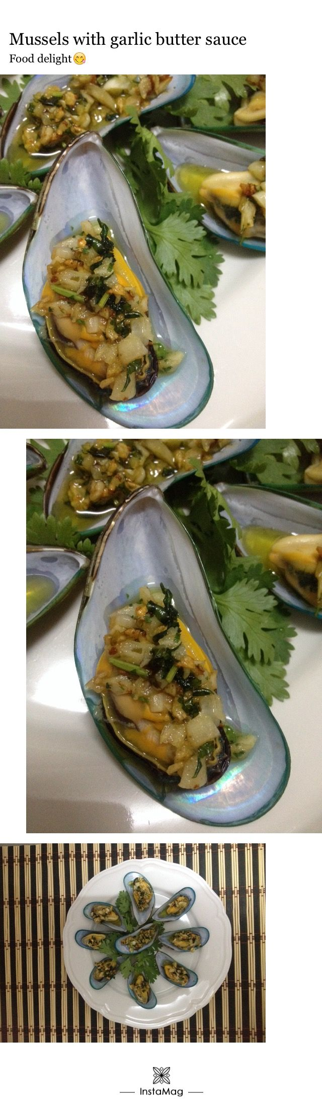 Mussels with garlic butter sauce
