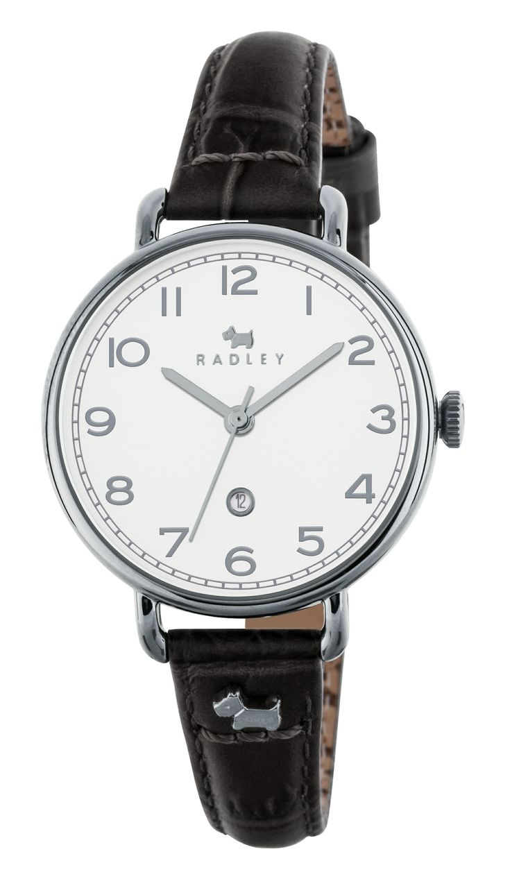 Radley ladies leather gloves - Radley Ladies White Dial Black Leather Strap Watch With Dog Charm Ry2347