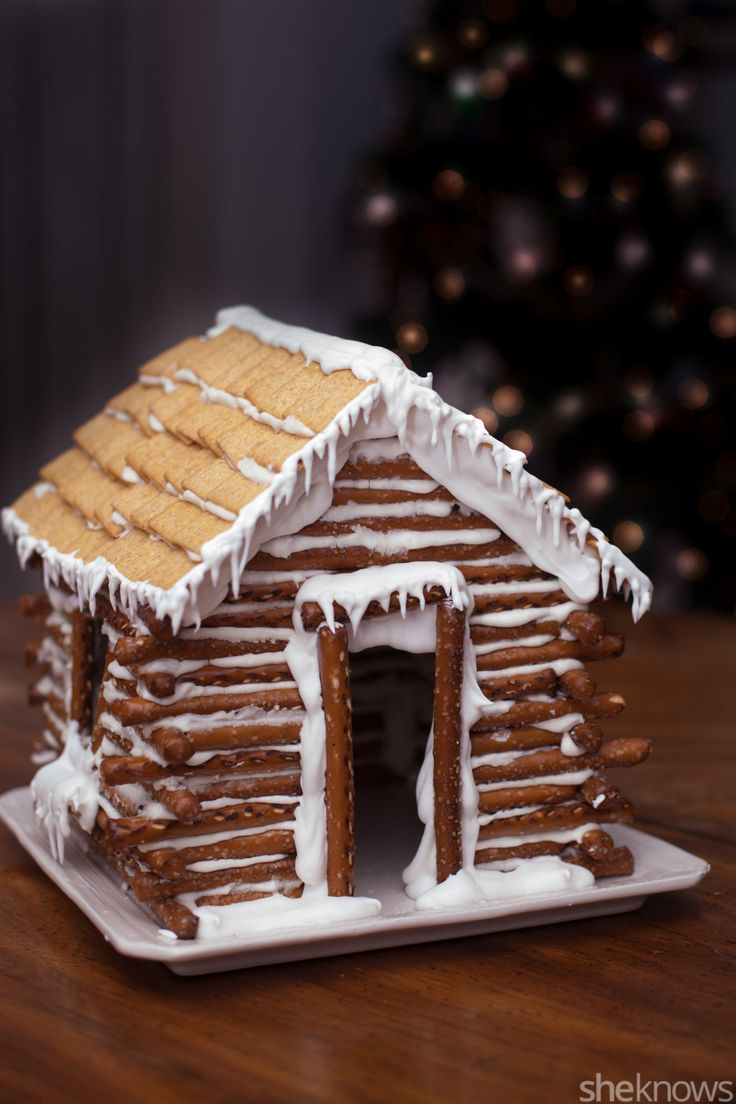 Forget the gingerbread house and make this edible pretzel log cabin instead