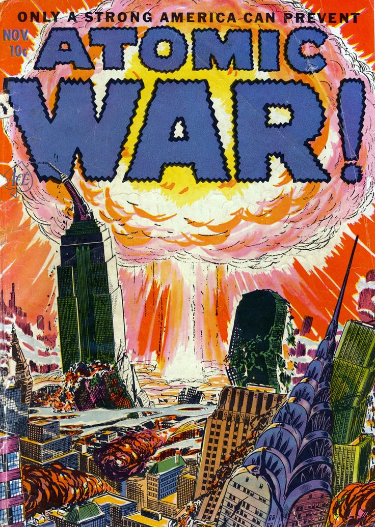 Propoganda regarding The Cold War/Atomic War. This shows a bomb and a city being destroyed.