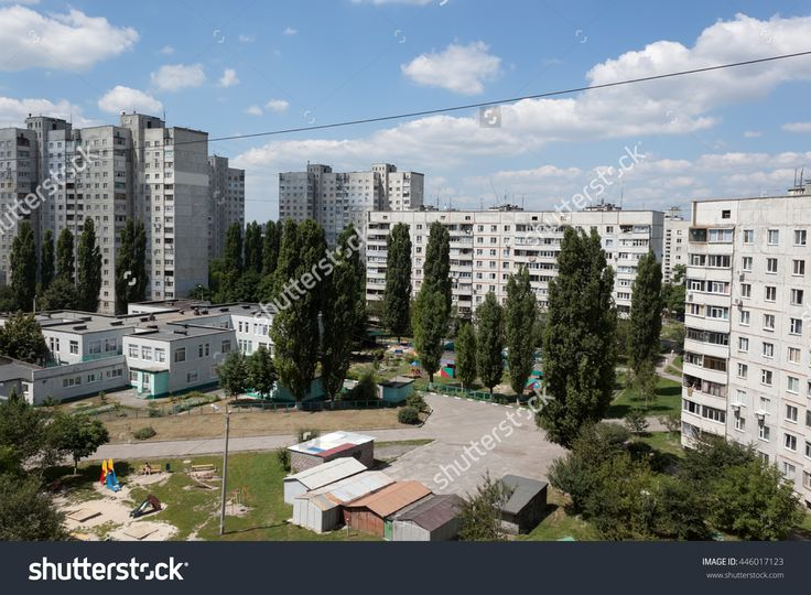 The Courtyard Between The Kharkiv Soviet-Built Apartment Blocks Party-Cloudy Summer Day. Ukraine, June 2016 Stock Photo 446017123 : Shutterstock
