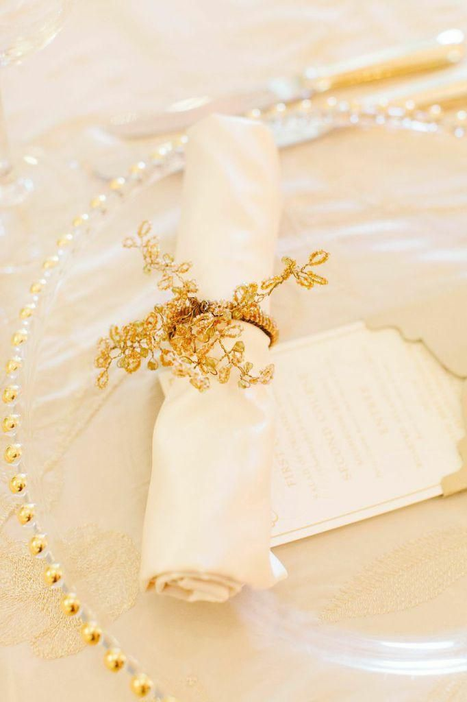Clear Place Setting with Gold Beading, Gold Napkin Ring.
