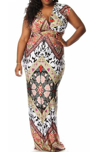 Plus Mix Print Maxi Dress-  A chic maxi is a wardrobe staple, especially as we transition into Spring. Pair with a cute cardigan for a daytime look or try a fitted leather jacket for a night out.