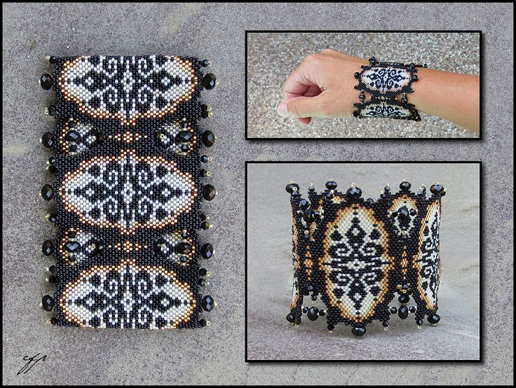 "Ivory Lace bracelet  9""x 3"", Size 15 seed beads (black, silver-lined light russet opal, silver lined gold opal, silver-lined white opal), black faceted crystal beads, nylon thread."