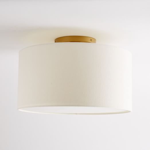 "Fabric Shade Flushmount - Drum | west elm, linen shade & diffuser, 16""diam. x 8""h"