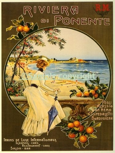 Same sized posters - large scale on either side of bed - vintage beach posters or bicycle posters