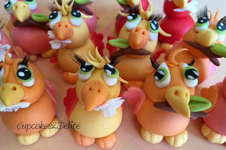 Sugar Paste Parrots for Cupcakes by Cupcakes2Delite