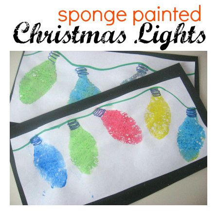 Sponge Painted Christmas Lights. Easy Craft For The Preschool And Up Crowd
