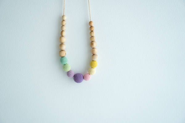 Spring Rainbow Babywearing Necklace Juniper Wood