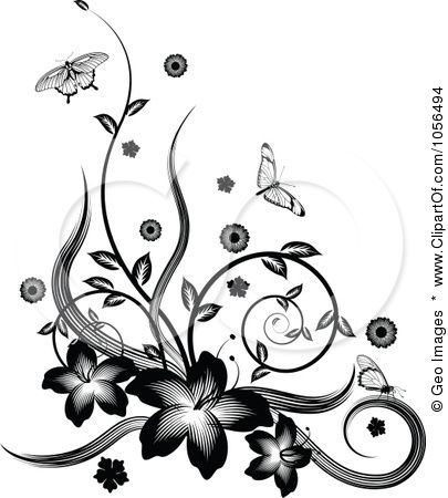Magnolia Flower Border Clip Art | Royalty-Free Vector Clip Art Illustration of a Black And White ...