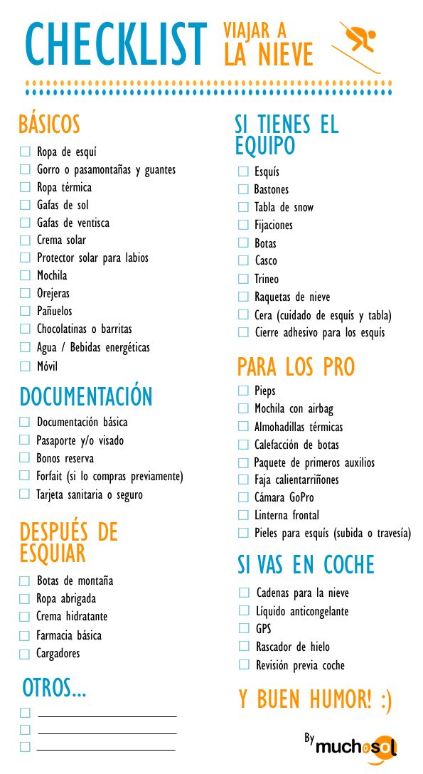 Lista viaje nieve | Checklist maleta para esquiar #checklist #needit #help #useful