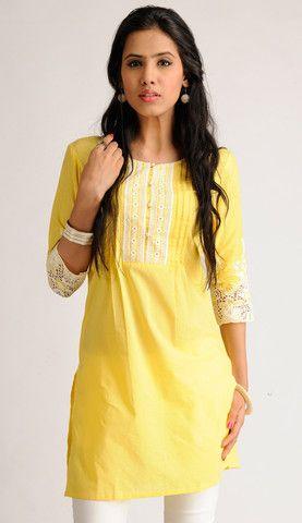 Yellow Cotton Kurti with White Embroidery | Naari