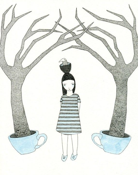 Catherine Campbell's The Blue Teacup Forest. Ink and watercolor.