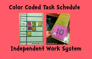 Color Coded Task Schedule - an Independent Work Task System for Children with Autism!