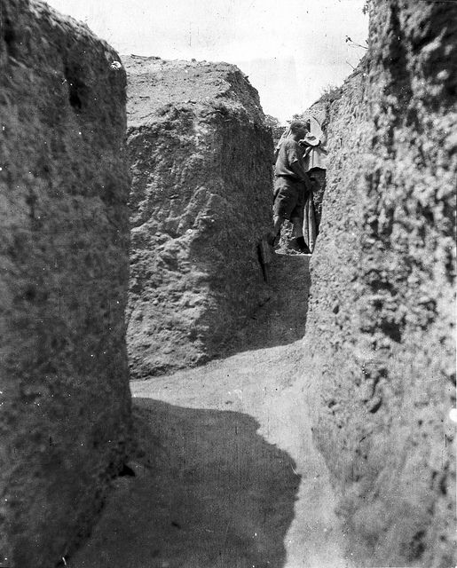 View along trenches, Russell's Top, Gallipoli, Turkey, 1915