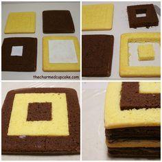 Chequerboard square cake