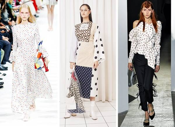 L-R: Valentino, MM6, Self-Portrait. Carrying on from this year's polka-dot popularity, you will find many a spotted item heading into stores for 2018. The memo? Keep it monochrome and keep it in cool, modern shapes to avoid looking like a 1950s housewife.