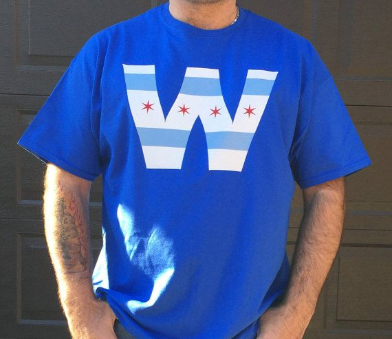 This Chicago Cubs W T-Shirt is available in blue, black, and gray and available in sizes Small - 2XL. Design is printed on high quality Hanes or
