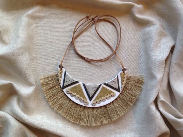 Handmade neck piece from polymer clay with jute fringing and leather strap - neutral colours