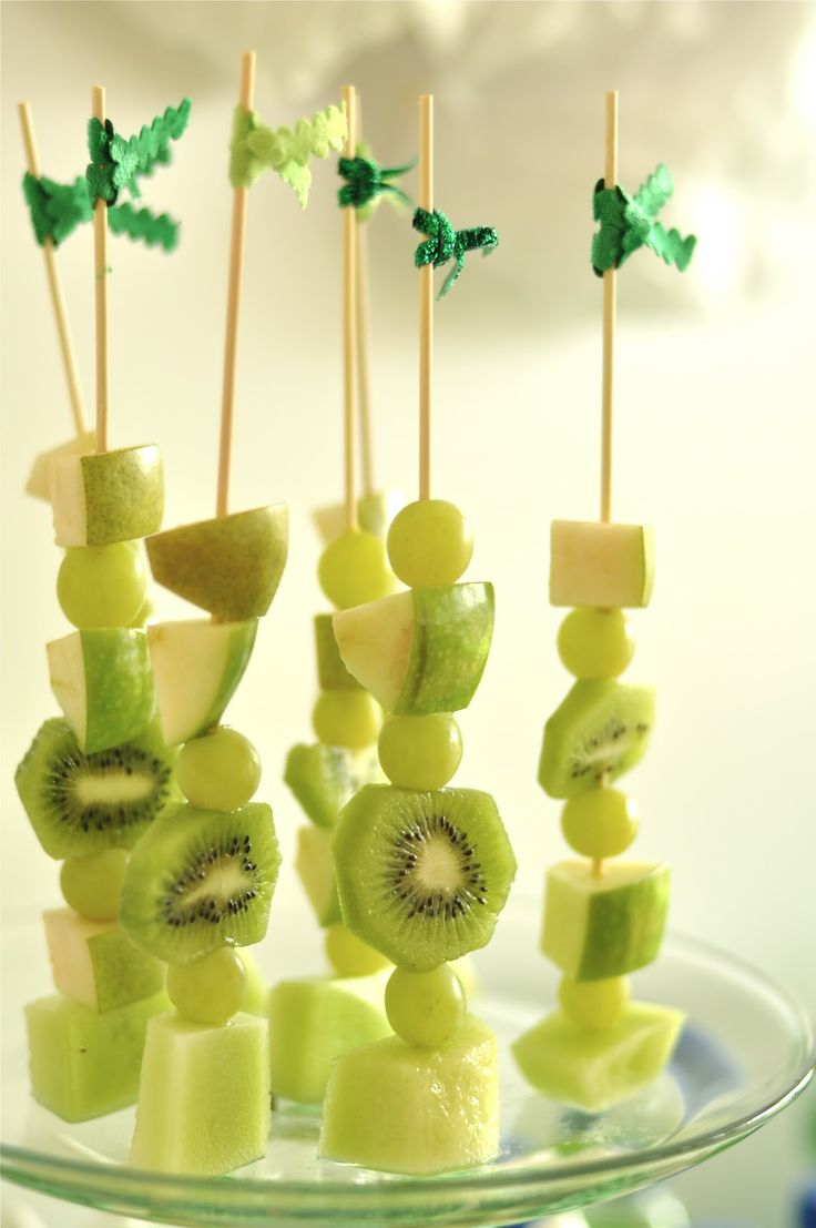 Bird's Party Blog: St Patrick's Day Party~Love this One.. kiwi  in skewers! With green ribbon tags to boot! #St.Patricks, #St.Patrick's ,