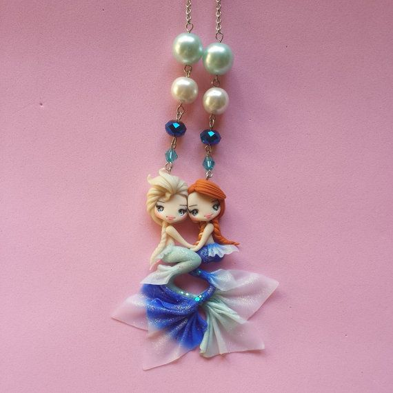 Necklace mermaid Elsa and Anna frozen in fimo polymer by Artmary2