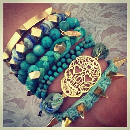 Like: Arm Candy, Spikes, Color, Skull Bracelets, Jewelry Accessories, Sugar Skull, Stacking Bracelets, Arm Parties, Hippie Fashion