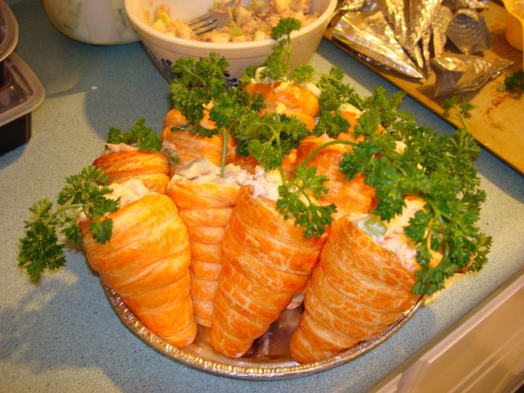 "Stuffed ""Carrots"". Crescent roll dough stuffed with egg salad, tuna salad, or chicken salad."
