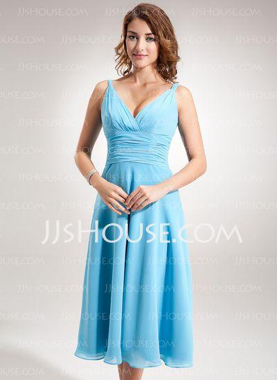 Bridesmaid Dresses - $89.99 - A-Line/Princess V-neck Tea-Length Chiffon Bridesmaid Dress With Ruffle (007001896) http://jjshouse.com/A-Line-Princess-V-Neck-Tea-Length-Chiffon-Bridesmaid-Dress-With-Ruffle-007001896-g1896