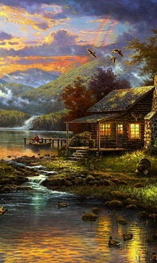 "I Want A Little Rustic ""Run Away"" Cabin. This Would Be Perfect ~ Nature's Paradise, (Limited Edition)  ~c.c.c~ Thomas Kinkade"