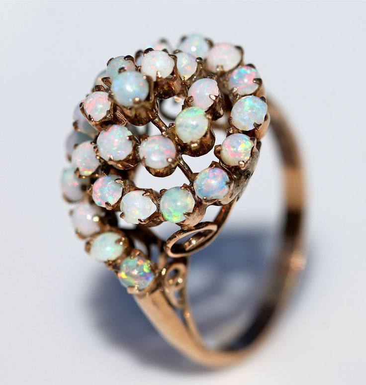 Antique 10k Yellow Rose Gold 30 Genuine Opal Swirl Cocktail Dome Ring – Yourgreatfinds