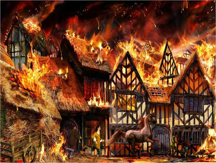 This picture shows the great fire. It shows a horse running, a cart full of hay on fire and elizabethan houses on fire.