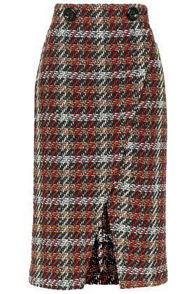 Check Wrap Midi Skirt: