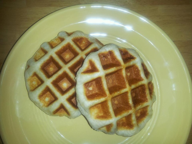 Grands Biscuits made in the Belgin Waffle Maker.  I did this after seeing a Pin on Pinterest yesterday.  We loved this super fast and super easy recipe.  Definately a GREAT quick and hot breakfast for the kids during the school year! 2 to 3 minutes on the low setting and voila!!!
