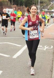 Terrific runs from Hammer Out supporters Vicki Roose (pictured) and Sam Langley in the Plymouth Half Marathon 2013. They both had very personal reasons for running and raised valuable funds to help our work.
