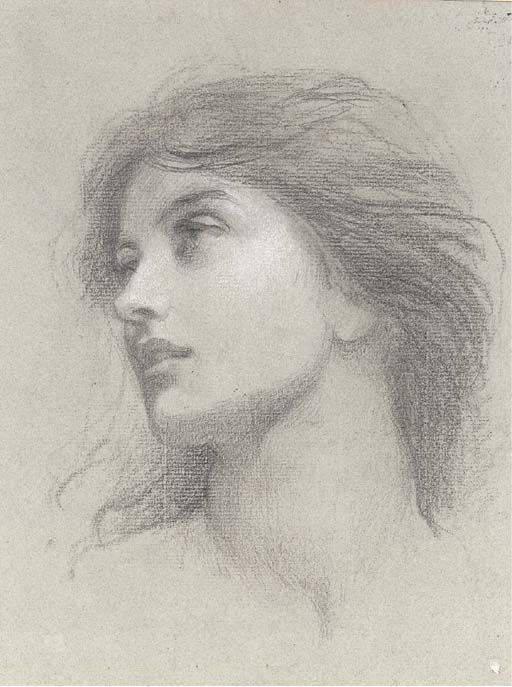 thefallofkainFrank Dicksee, Study for the head of the damsel in 'Chivalry'
