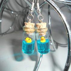 Boucles d'oreilles fioles avec petits canards :)