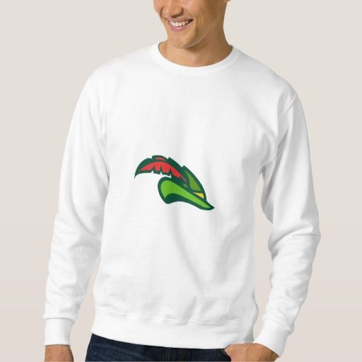 Robin Hood Hat Retro Pullover Sweatshirt. Illustration of a style of medieval hat with a pointed brim and feather which we modernly associate with Robin Hood viewed from side set on isolated white background done in retro style. #Illustration #RobinHoodHat