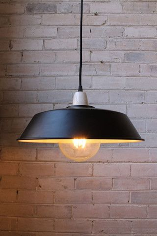 D.Platform Pendant Light. Black metal shade. Porcelain lampholder. E27 bulb - Fat Shack Vintage - Fat Shack Vintage