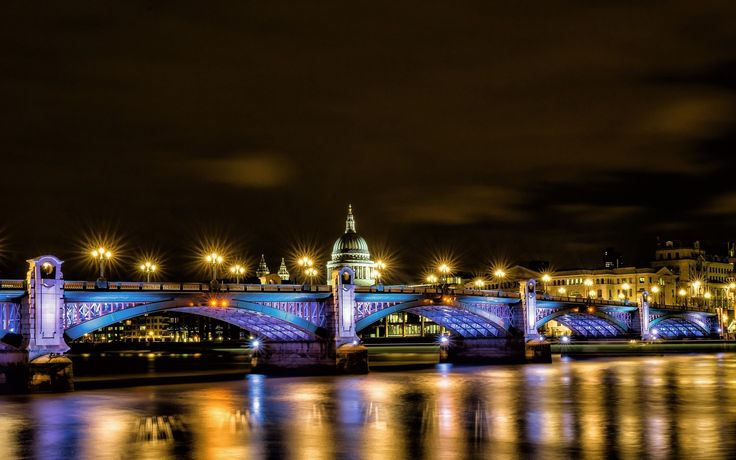 london, лондон, англия, великобритания, собор святого павла, мост, фонари, освещение, отражение, река, темза, город, ночь