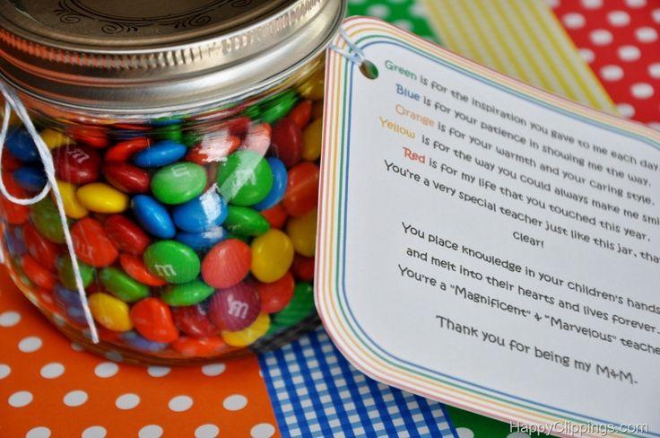 Teacher Gift: You're My M Poem & Jar Plus Other Ideas