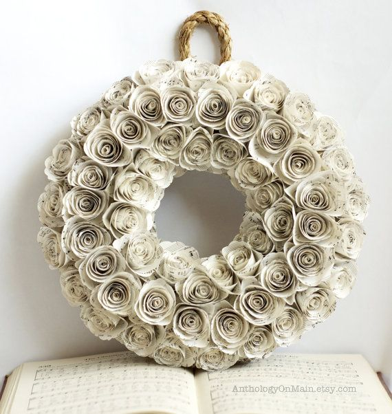 christmas music wreath 14 inch handmade shabby chic. Black Bedroom Furniture Sets. Home Design Ideas