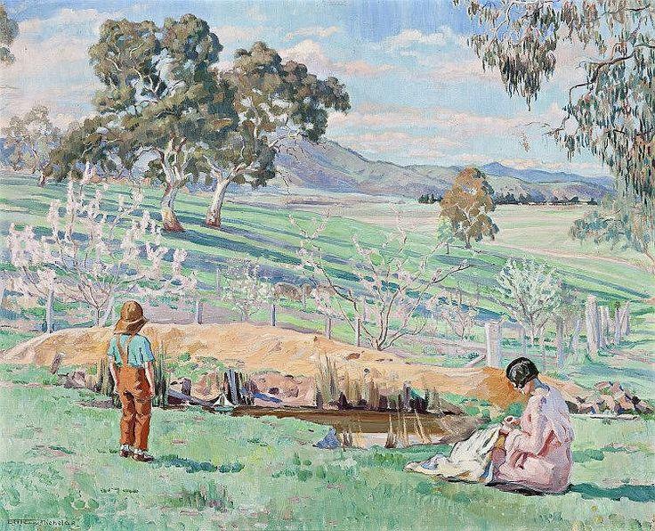 HILDA RIX NICHOLAS, 1884 – 1961, SPRING AFTERNOON, KNOCKALONG, 1933, oil on canvas