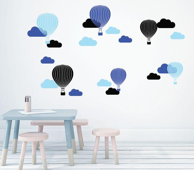 VÄGGDEKOR Luftballonger blå