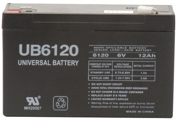 UPG - Sealed Lead Acid Batteries (6V; 12Ah; .250 Tab Terminals; UB6120F2)